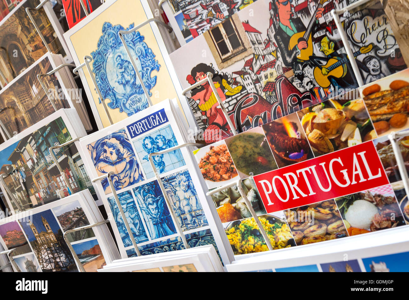 Postcards of Coimbra on a Postcard stand, Miranda do Corvo, Coimbra District, Portugal, Europe, Travel, Travel Photography - Stock Image