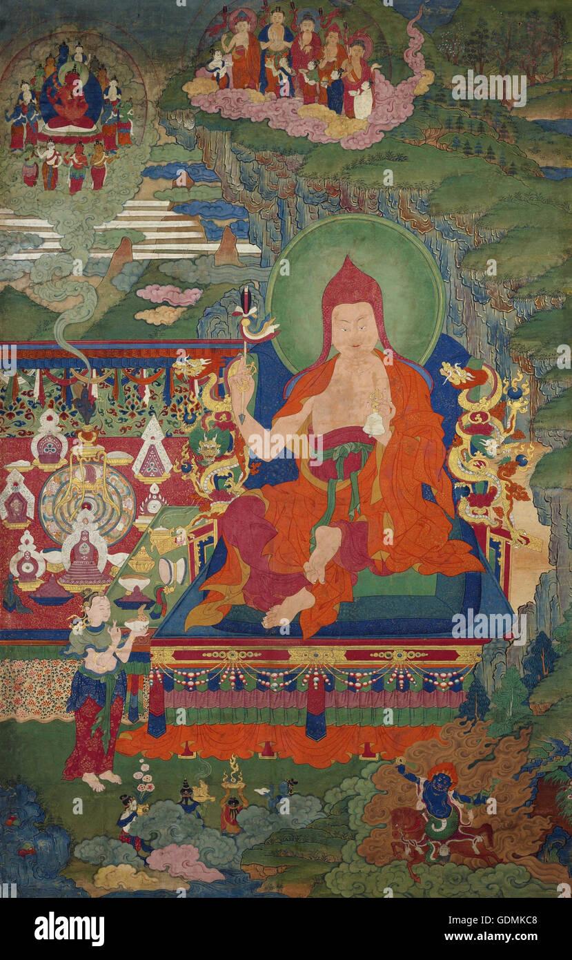 Lama Engaged in Ritual - Stock Image