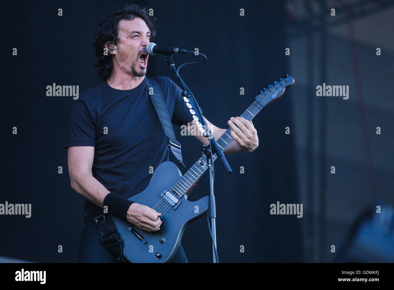 Gojira performs at the Festival d'ete de Quebec in Quebec city Sunday July 17, 2016. - Stock Image