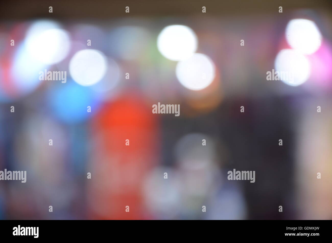 light dots, blurred background, red, blue, blurred, white circle, dotted, shine, lightbulb, round, darkness, glitter - Stock Image