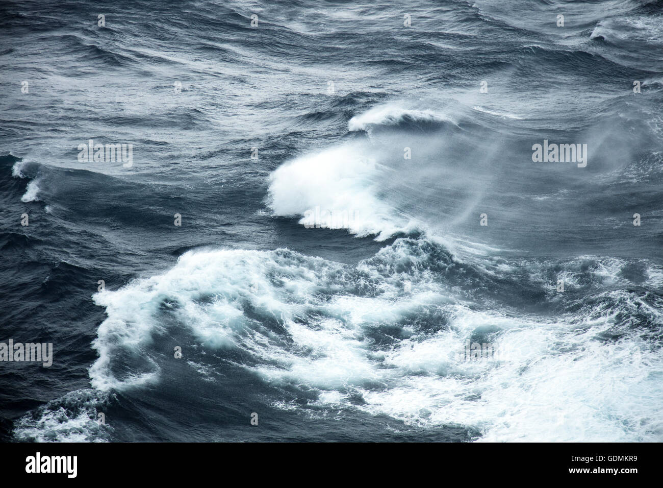 Storm force winds and rough seas - Stock Image