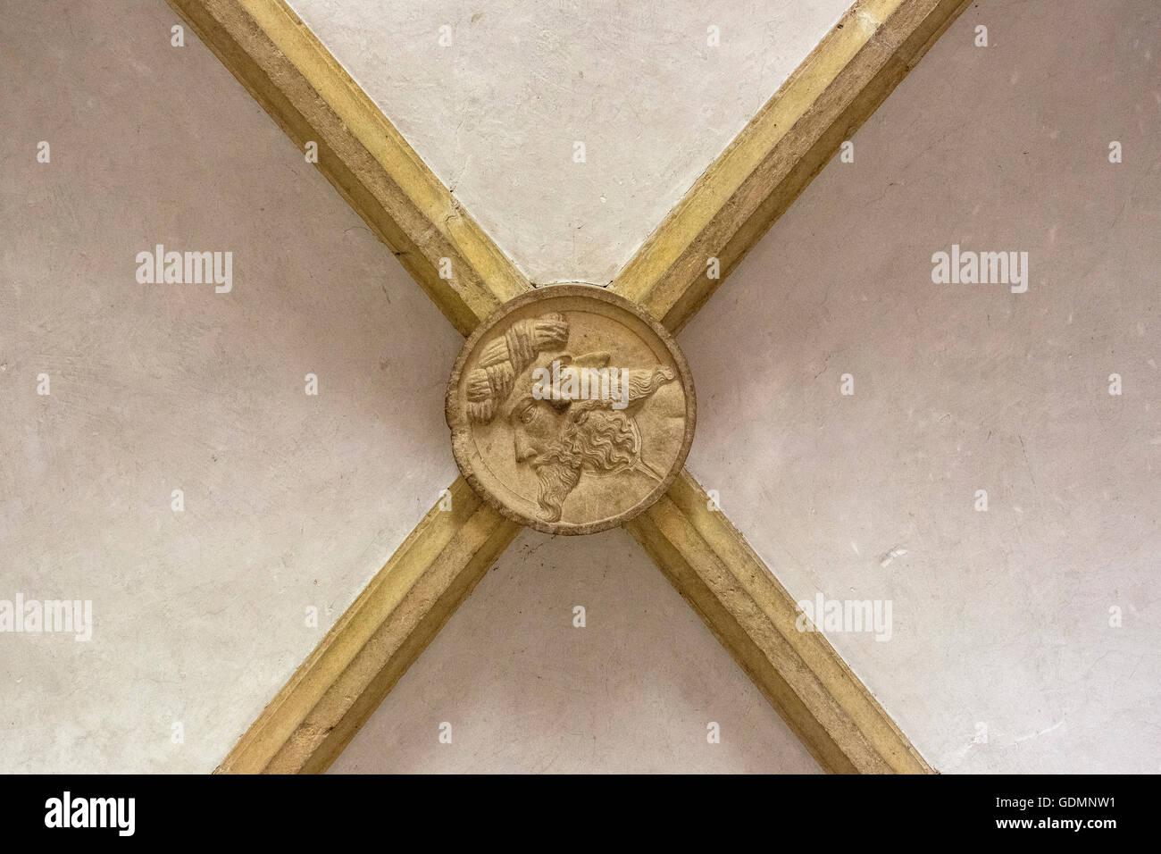 legendary keystone of the Templars fortress of Tomar, the castle of the Knights Templar, Templar, UNESCO Heritage, - Stock Image