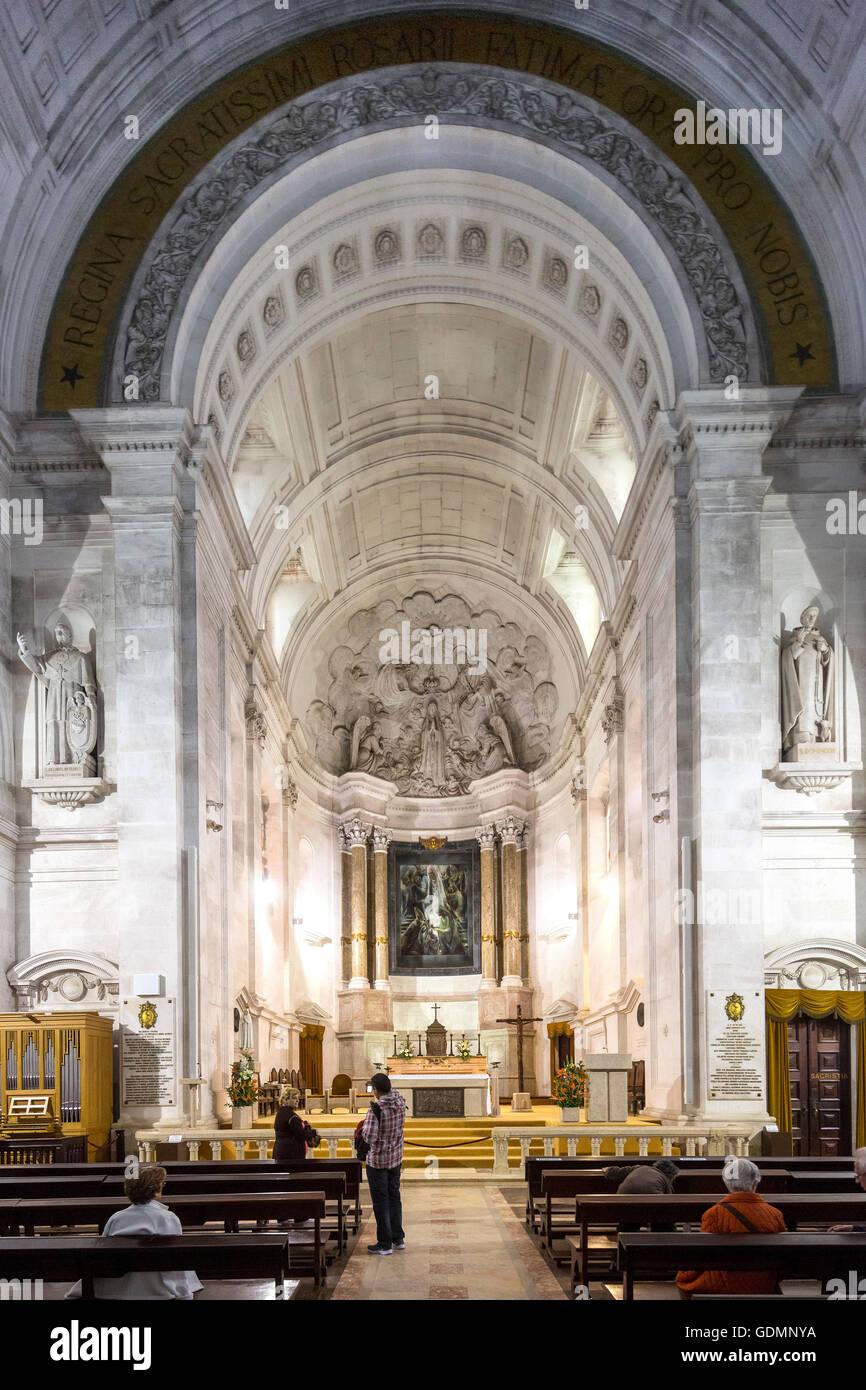 Interior of the Basilica Antiga em Fatima, Fatima, Santarem, Portugal, Europe, travel, travel photography - Stock Image