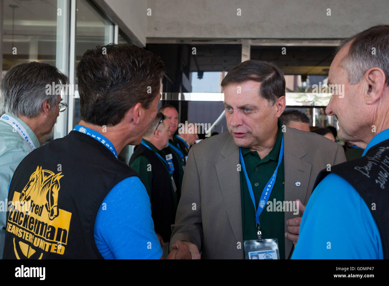 Las Vegas, Nevada - Fred Zuckerman talks with supporters during the Teamsters Union's convention. - Stock Image