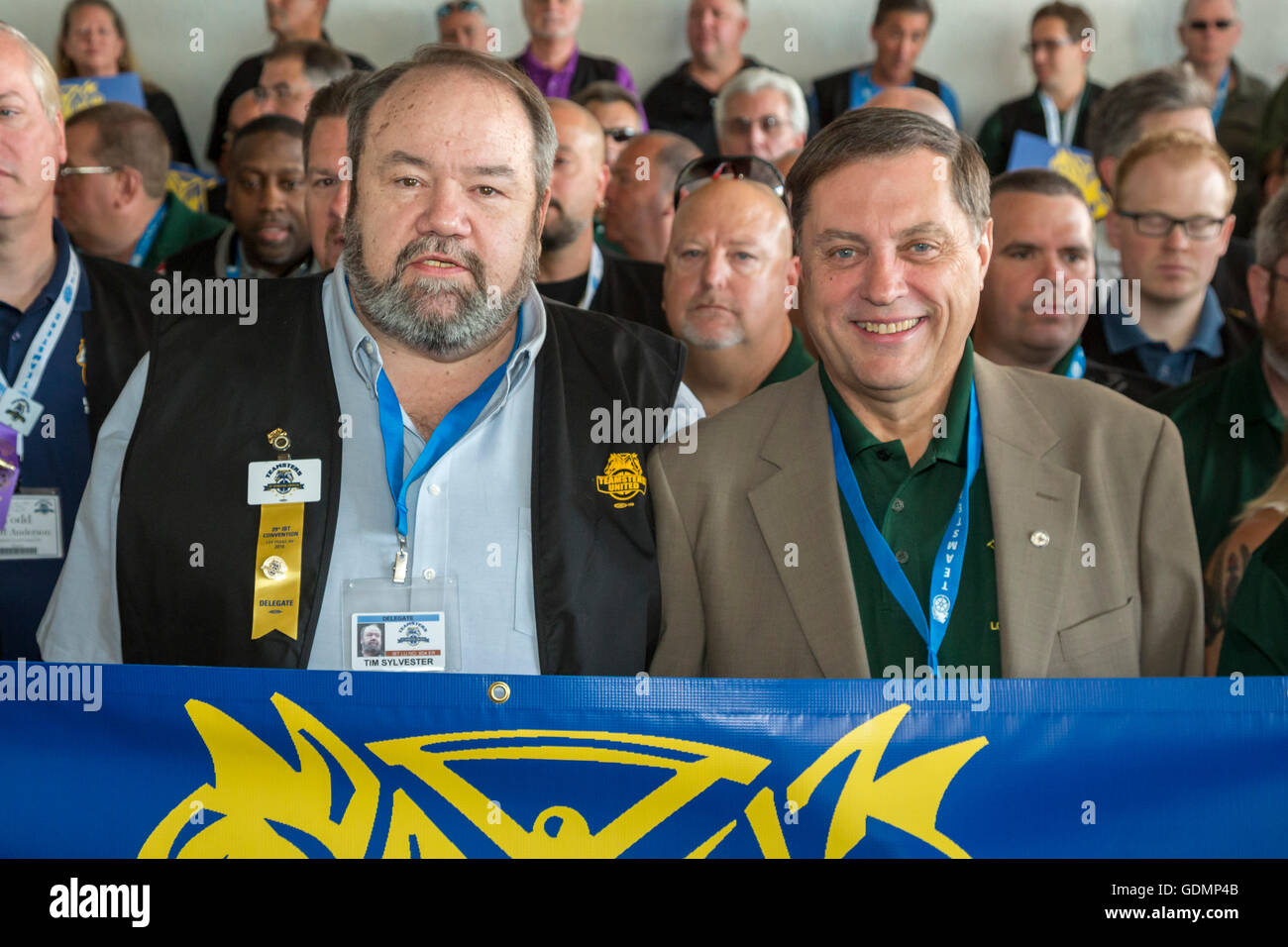 Las Vegas, Nevada - Fred Zuckerman (right), reform candidate for Teamsters president, and his running mate, Tim - Stock Image