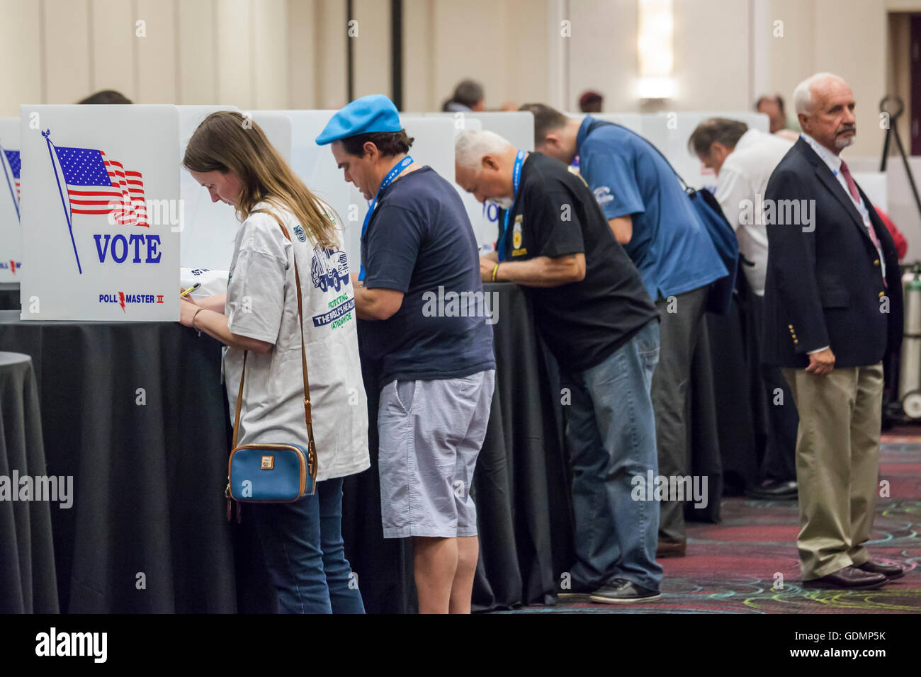 Las Vegas, Nevada - Delegates to the Teamsters Union convention cast ballots in voting to nominate candidates for - Stock Image