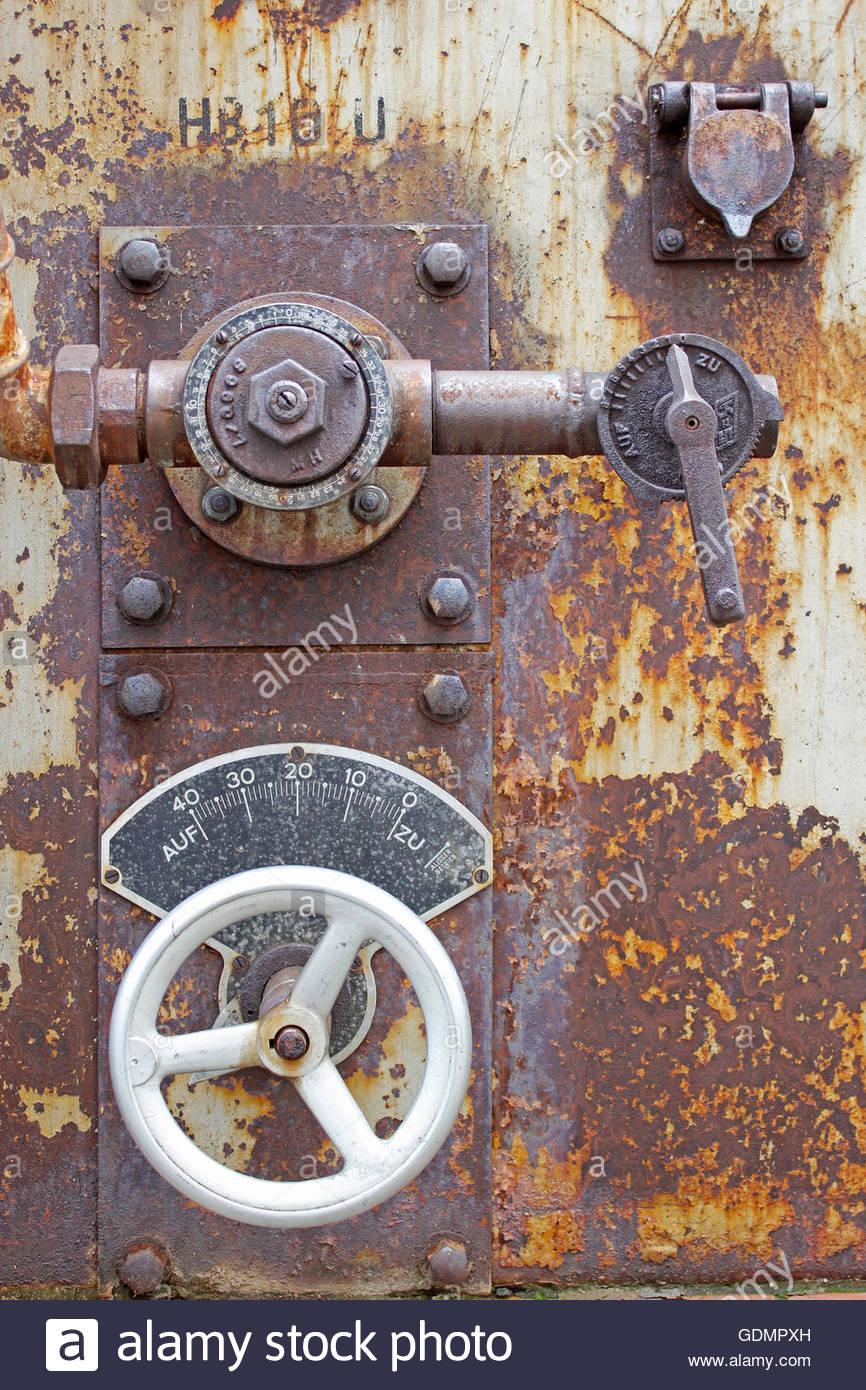 historic steam regulation valve - Stock Image