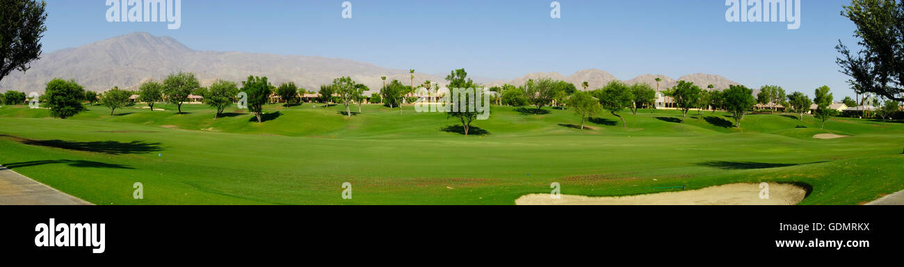 panoramic view of fairway of golf course at PGA West in La Quinta near palm Springs in the Coachella Valley California - Stock Image