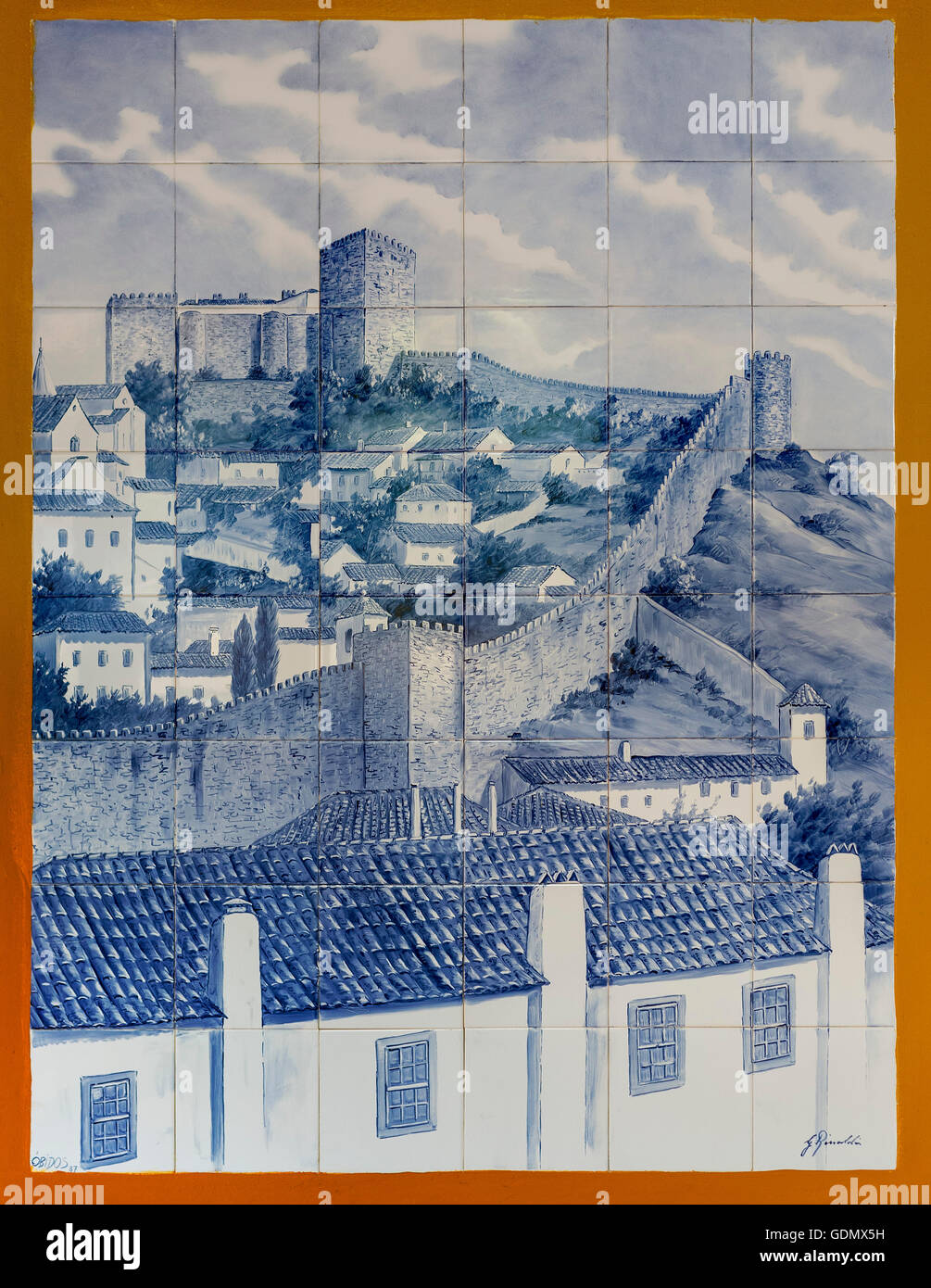 Azulejos, painted tiles with the motif of the city of the ramparts and castle Obidos, picturesque town Obidos, Portugal, - Stock Image