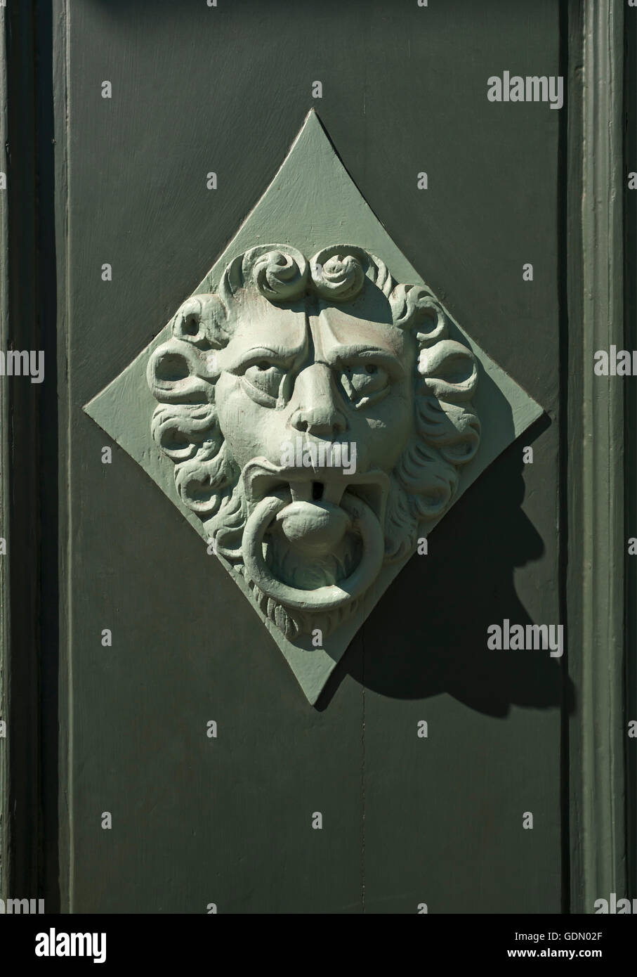 Lion head as a door knocker on a door, Wismar, Mecklenburg-Western Pomerania, Germany - Stock Image