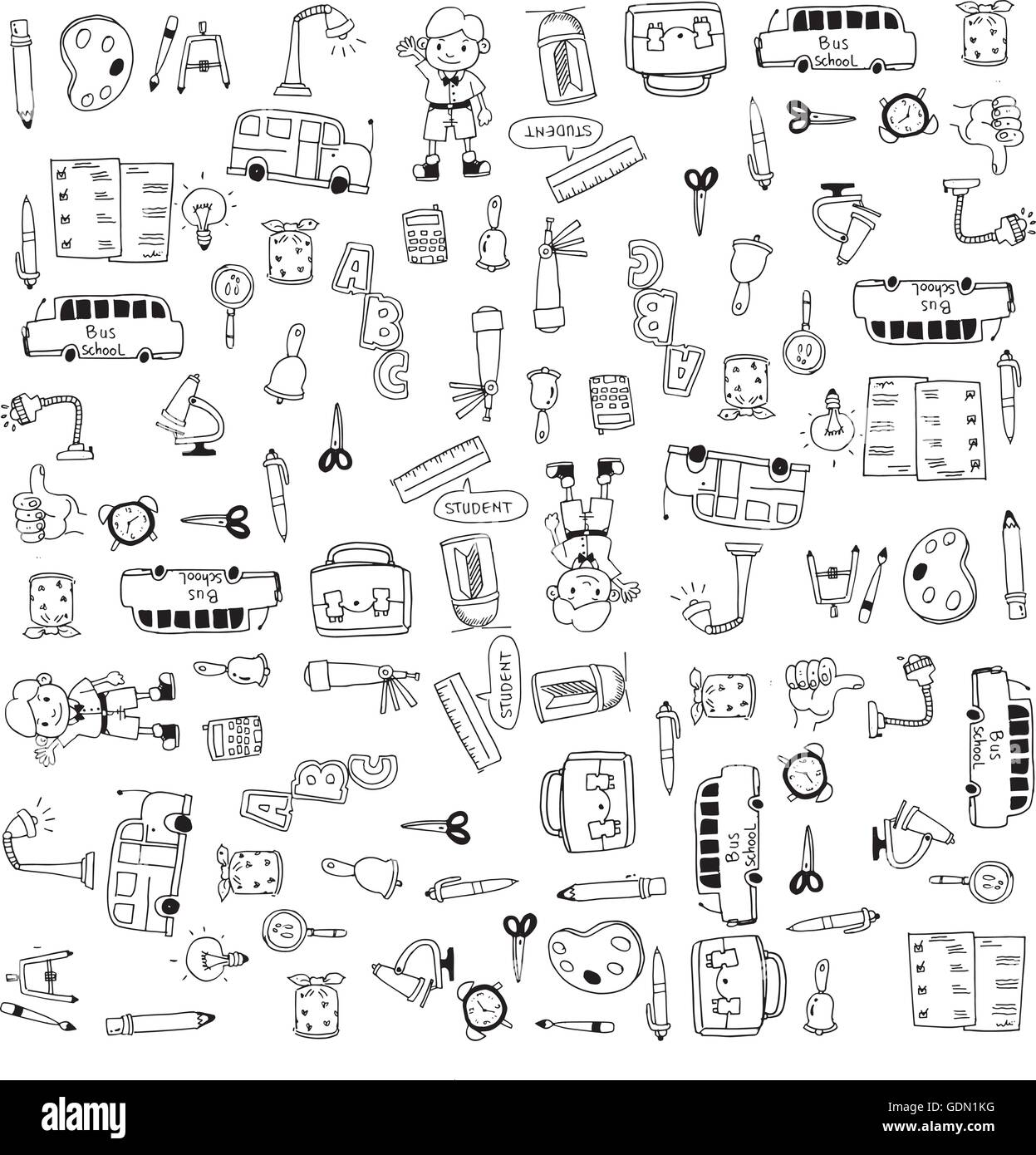 Flat hand draw education tools doodle