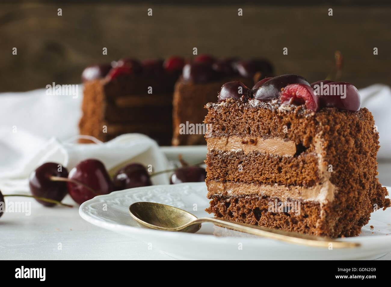 Piece of chocolate cake with berries selective focus - Stock Image