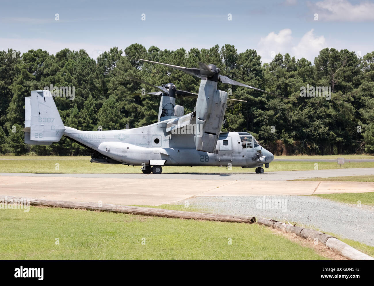 V-22 Osprey V/STOL aircraft taxiing at Horace Williams Airport, Chapel Hill, NC USA - Stock Image