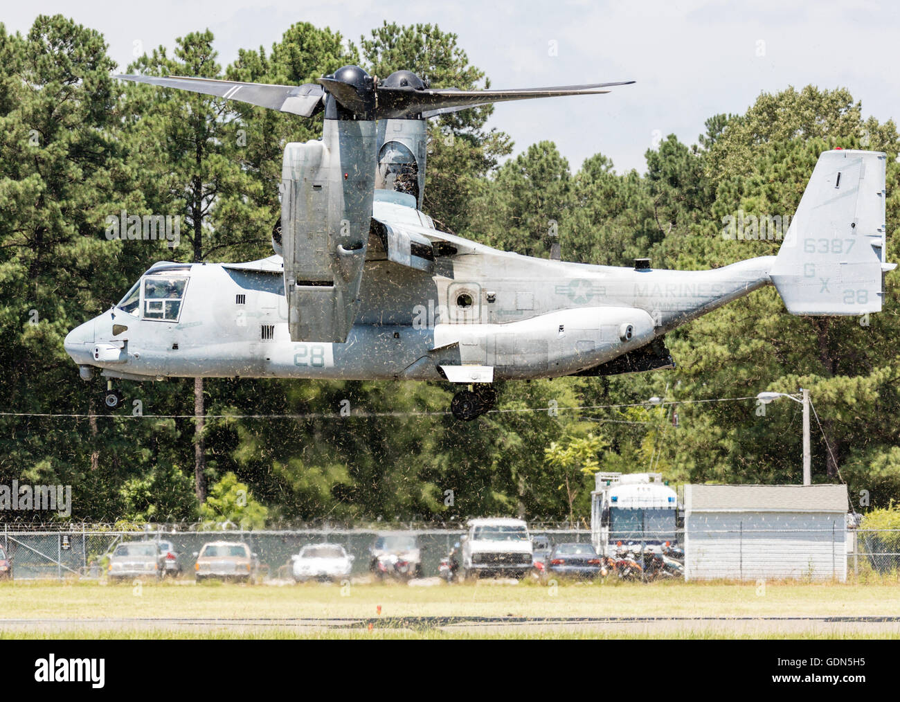V-22 Osprey V/STOL aircraft taking off at Horace Williams Airport, Chapel Hill, NC USA - Stock Image