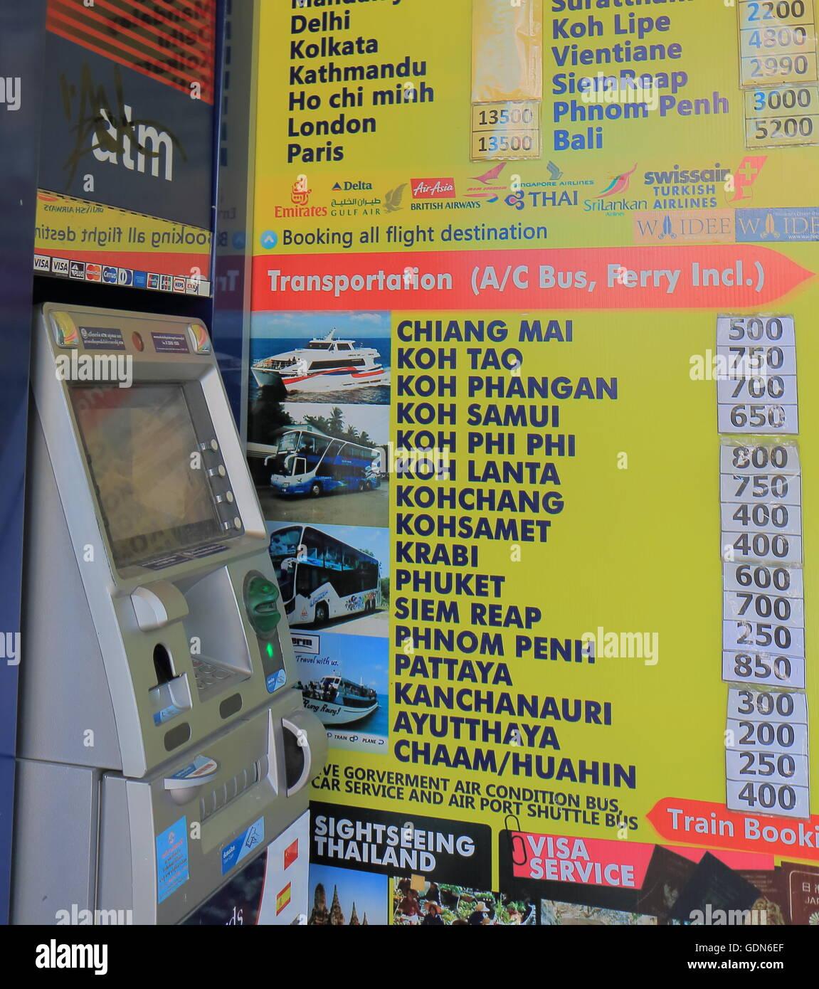 Travel agency in Khaosan Road in Bangkok Thailand. - Stock Image