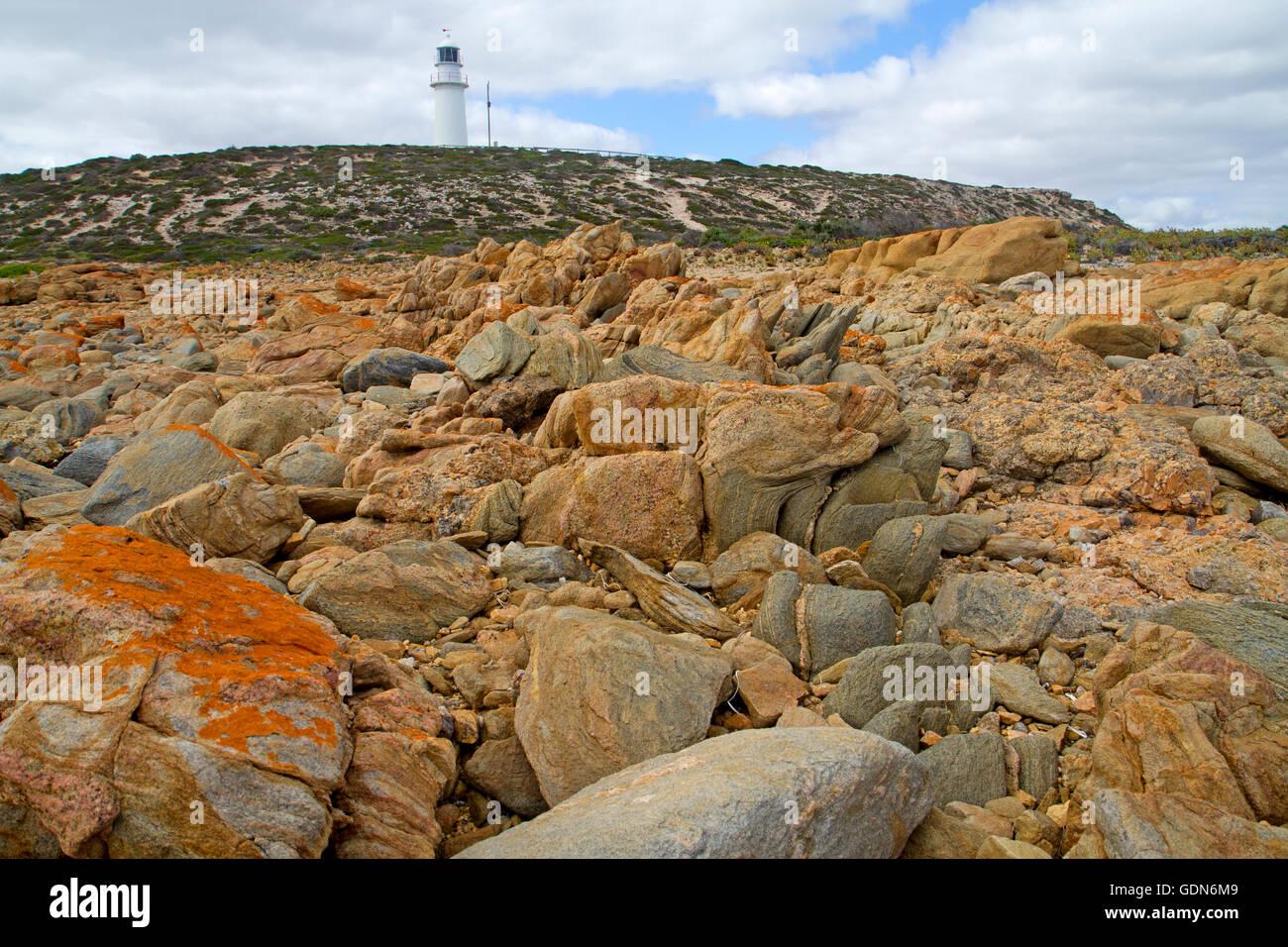 Corny Point Lighthouse on the Yorke Peninsula - Stock Image