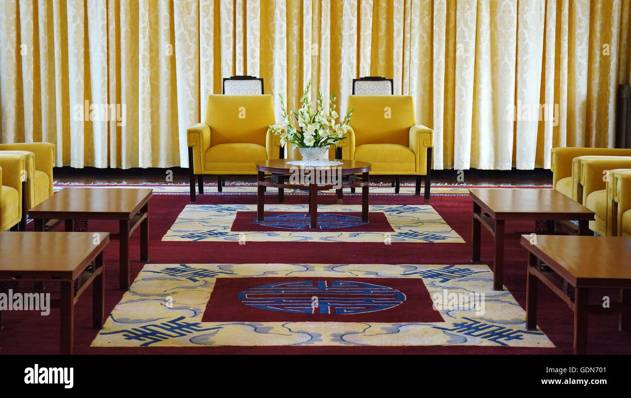 Antique view of Independence Palace interior, beautiful living room, luxury decoration - Stock Image