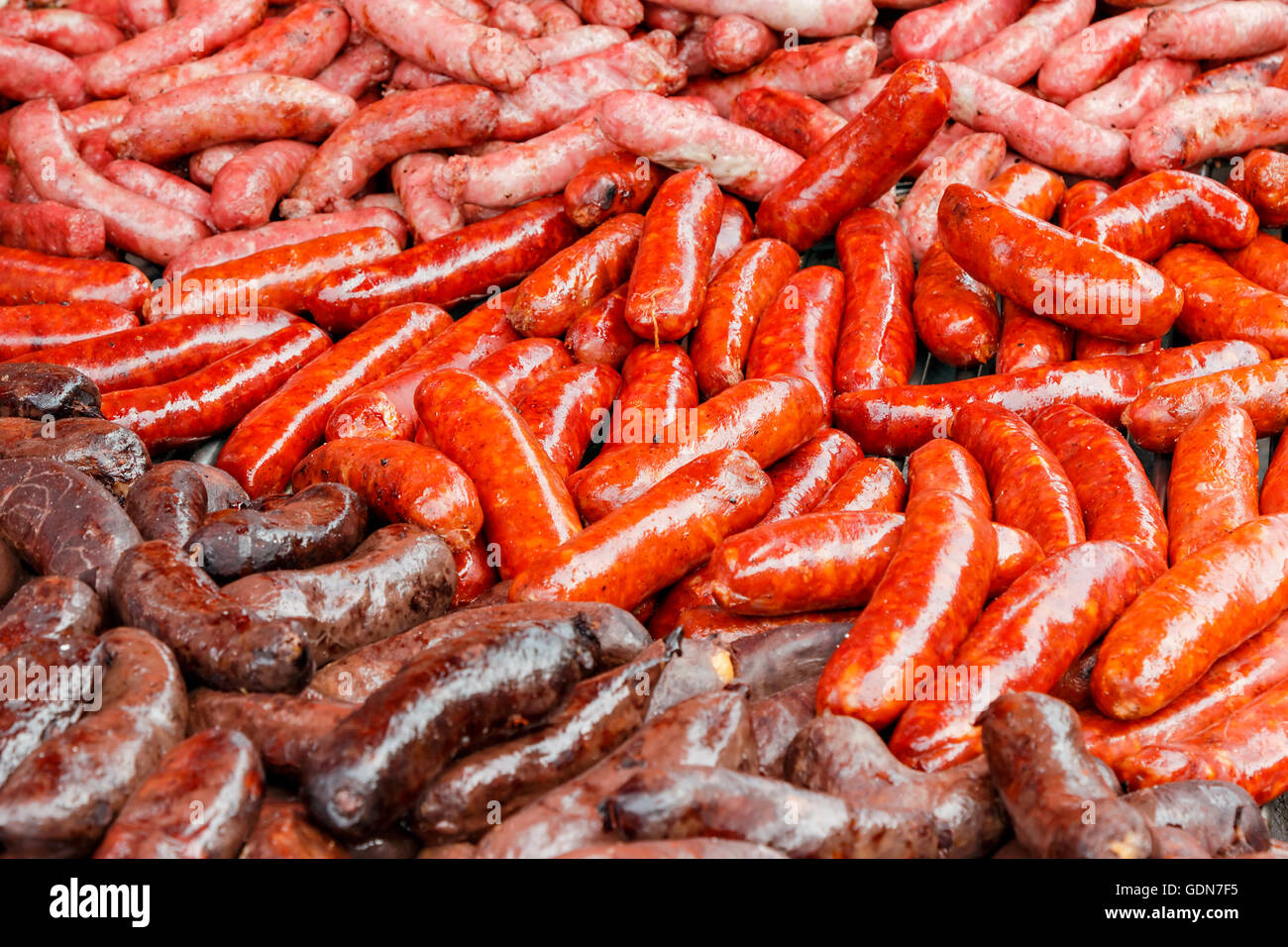 Sausage detail on a traditional craftsman market.Horizontal image. - Stock Image