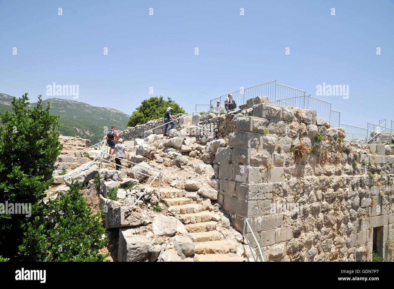The Nimrod (Namrud) Fortress or Nimrod Castle is a medieval Muslim castle situated on the southern slopes of Mount - Stock Image