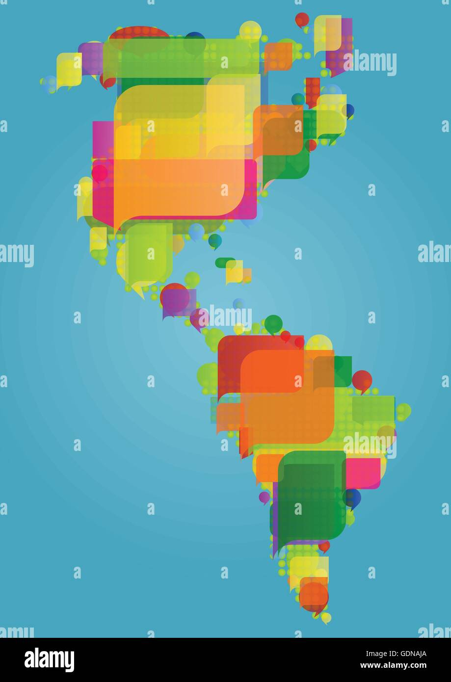 North, south and central America continent world map made of ...