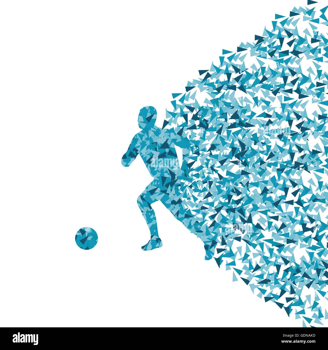 Soccer player silhouette made of triangle fragments vector abstract background for poster - Stock Image
