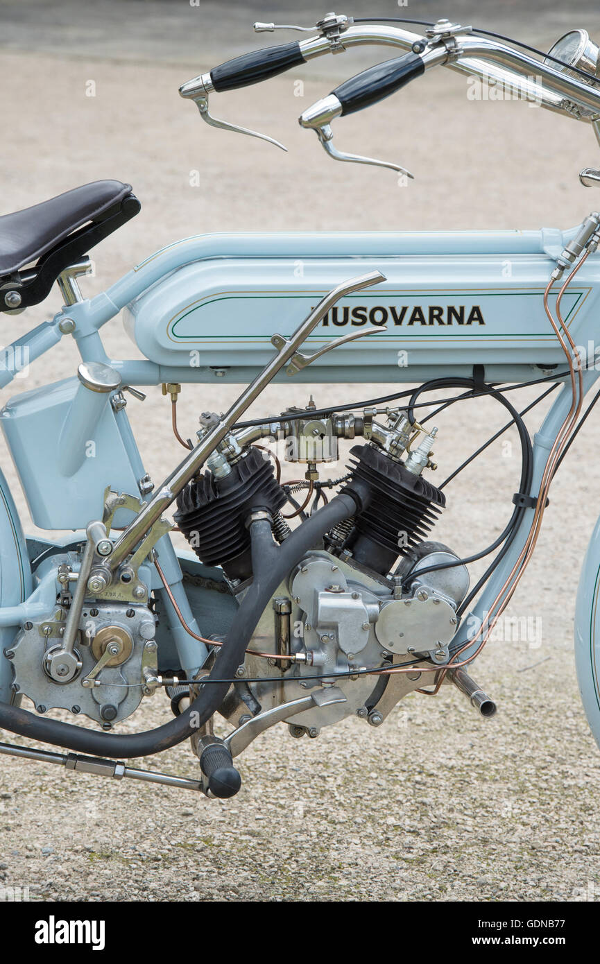 1917 Husqvarna motorcycle at Malle, The Mile Racing event. London - Stock Image