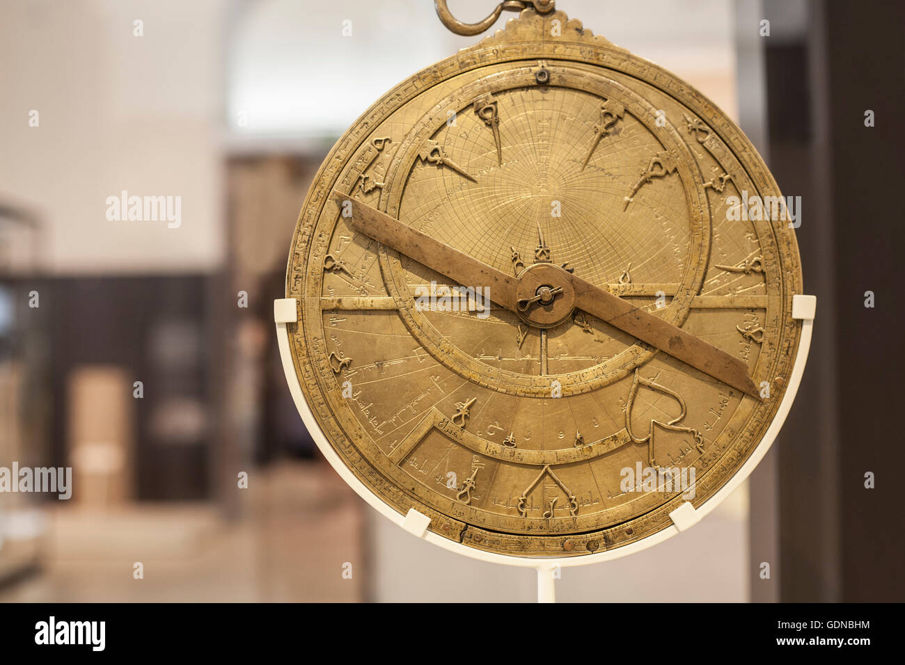 Antique brass astrolabe made during Arabic Middle Age rule in Spain ...
