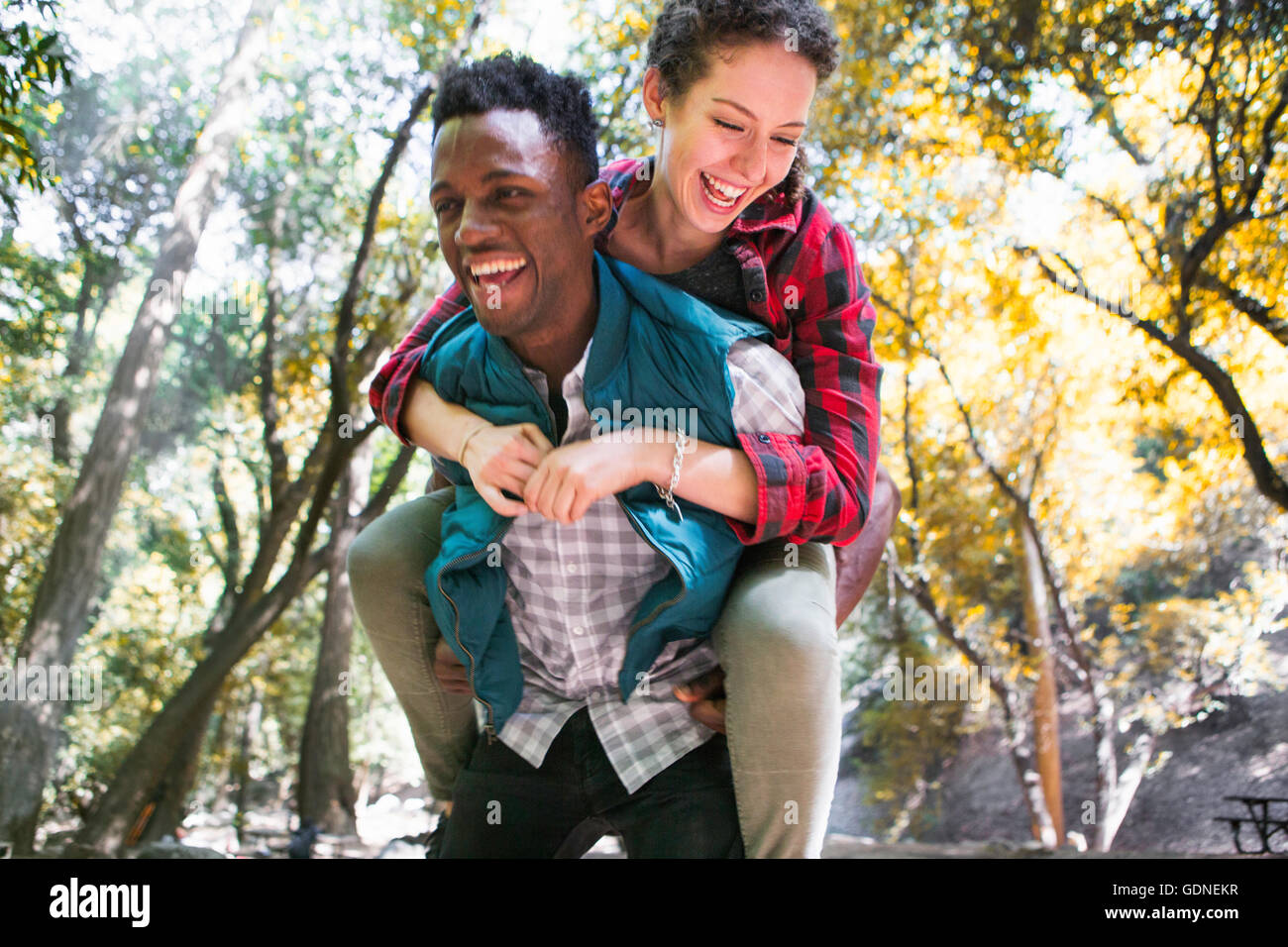 Young female hiker getting piggy back from boyfriend in forest, Arcadia, California, USA - Stock Image