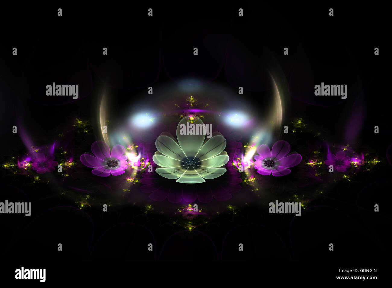 Abstract fractal fantasy alien magenta flowers with glow.Fractal artwork for creative design,flyer cover, interior, - Stock Image