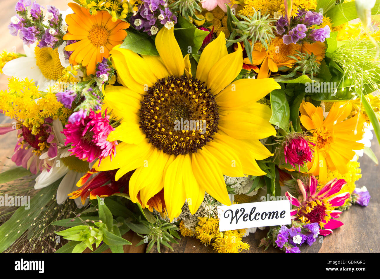 Welcome Card With Bouquet Of Summer Flowers Stock Photo 111726932