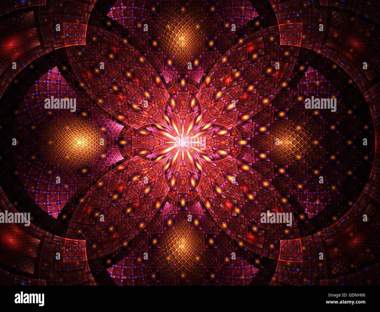 Abstract fractal fantasy magenta pattern.Fractal artwork for creative design,flyer cover, interior, poster. - Stock Image