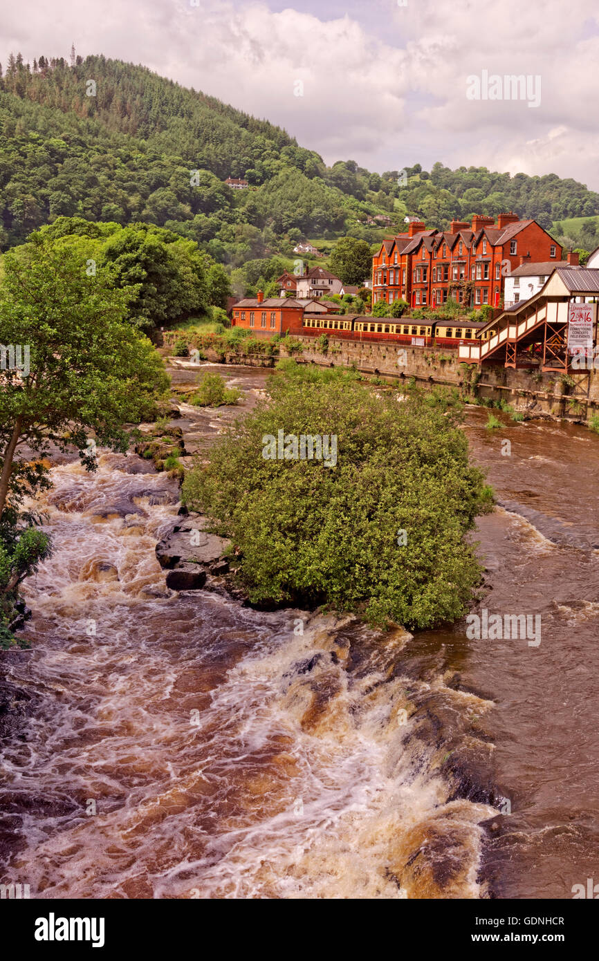 River Dee at LLangollen, Denbighshire, North Wales. Stock Photo