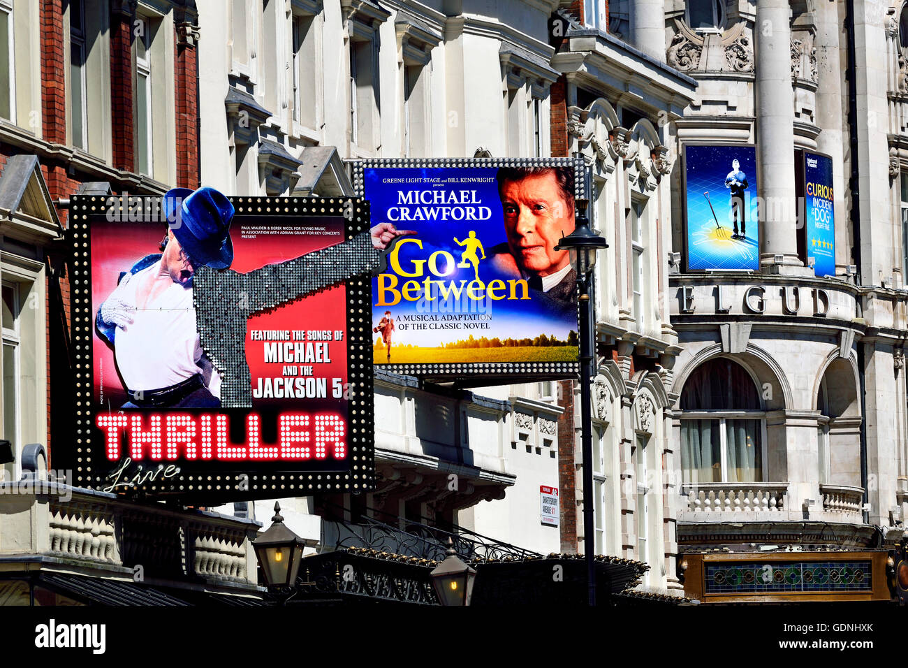 London, England, UK. Shaftesbury Avenue - 'Thriller' at the Lyric Theatre; The Go-Between at the Apollo; - Stock Image