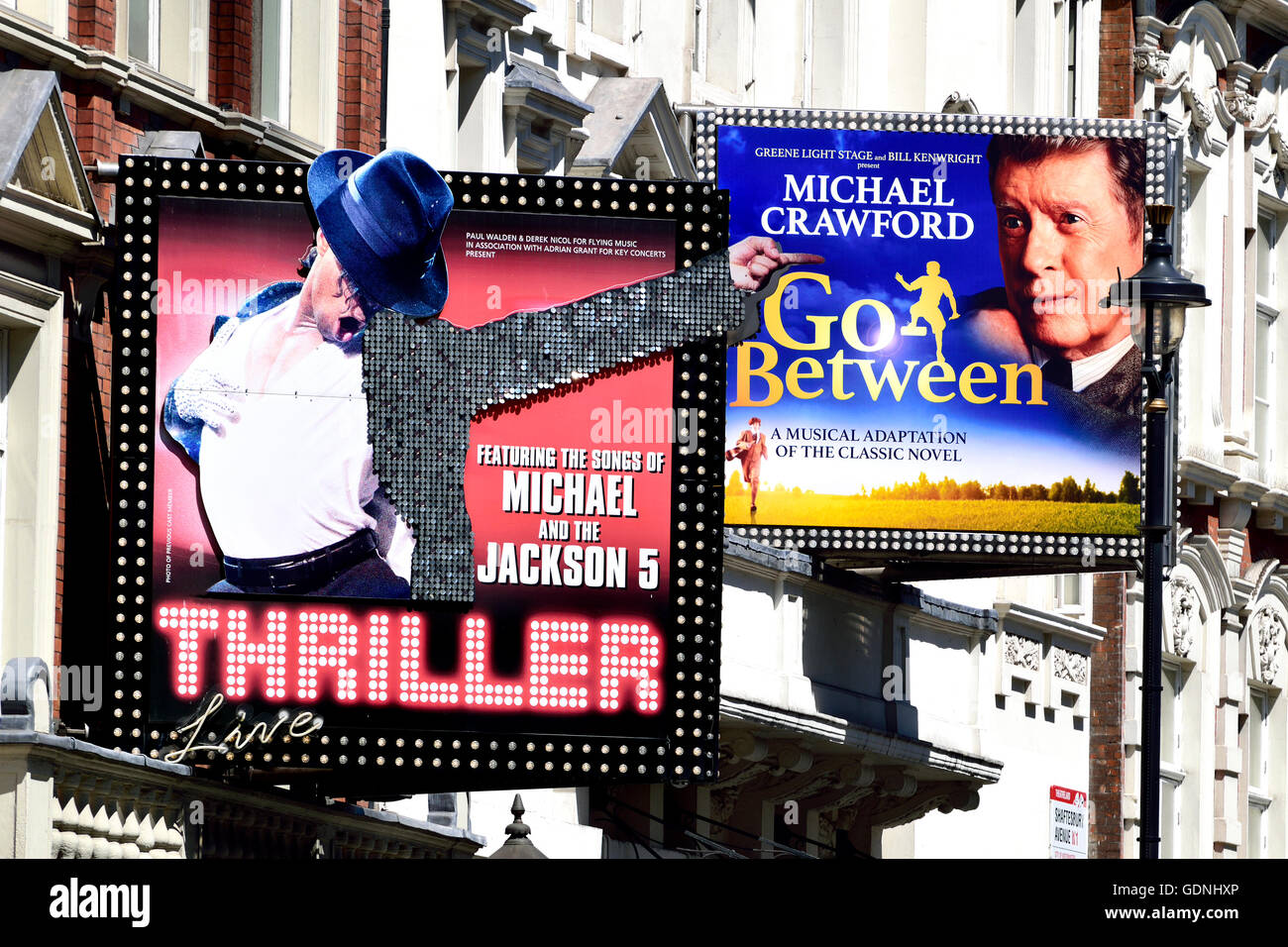 London, England, UK. Shaftesbury Avenue - 'Thriller' at the Lyric Theatre; The Go-Between at the Apollo - Stock Image