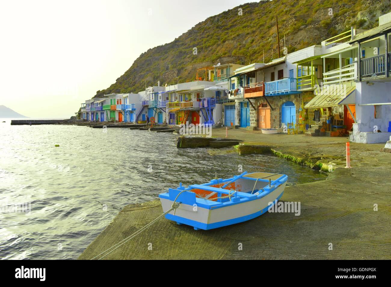 Traditional fishing village of Klima, Milos Island, Greece - Stock Image