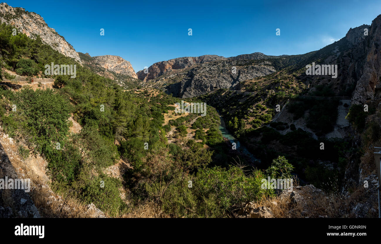 Looking down on the Rio Guadalhorce in Andalucia, as seen from the Caminito del Rey walkway. - Stock Image