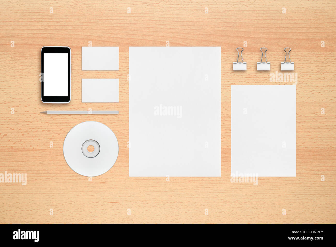 Template for branding identity - smartphone, business cards, pencil ...