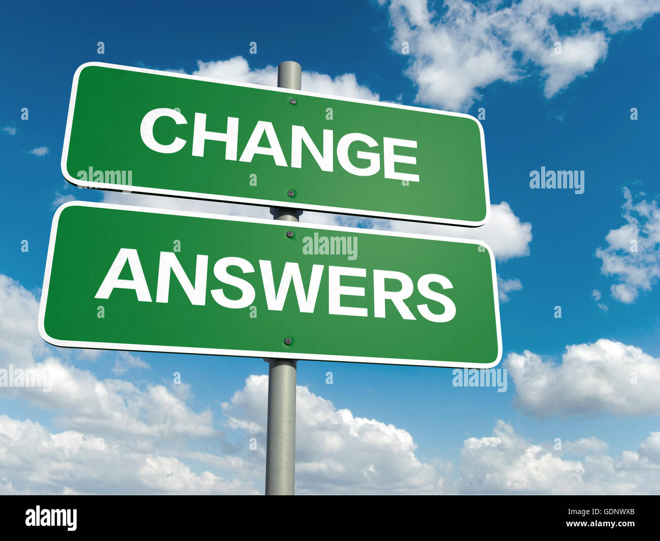 A road sign with change answers words on sky background - Stock Image