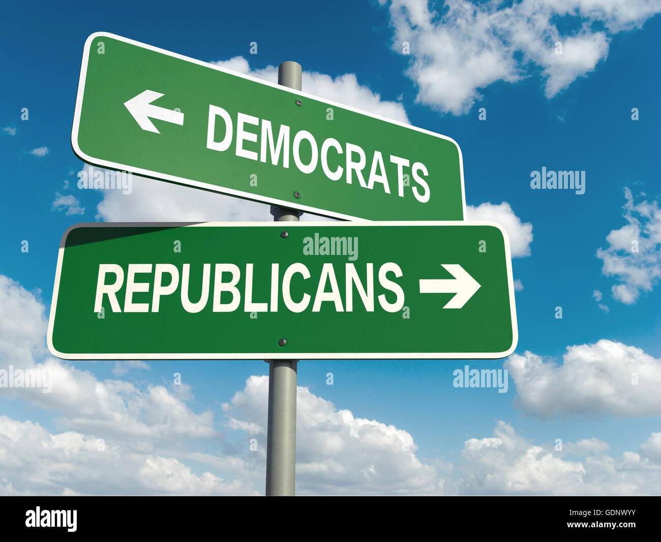 A road sign with democrats republicans words on sky background - Stock Image