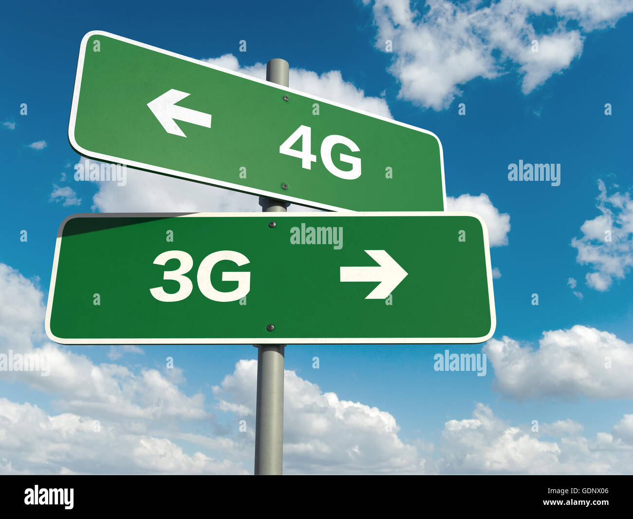 A road sign with 4G 3G words on sky background - Stock Image