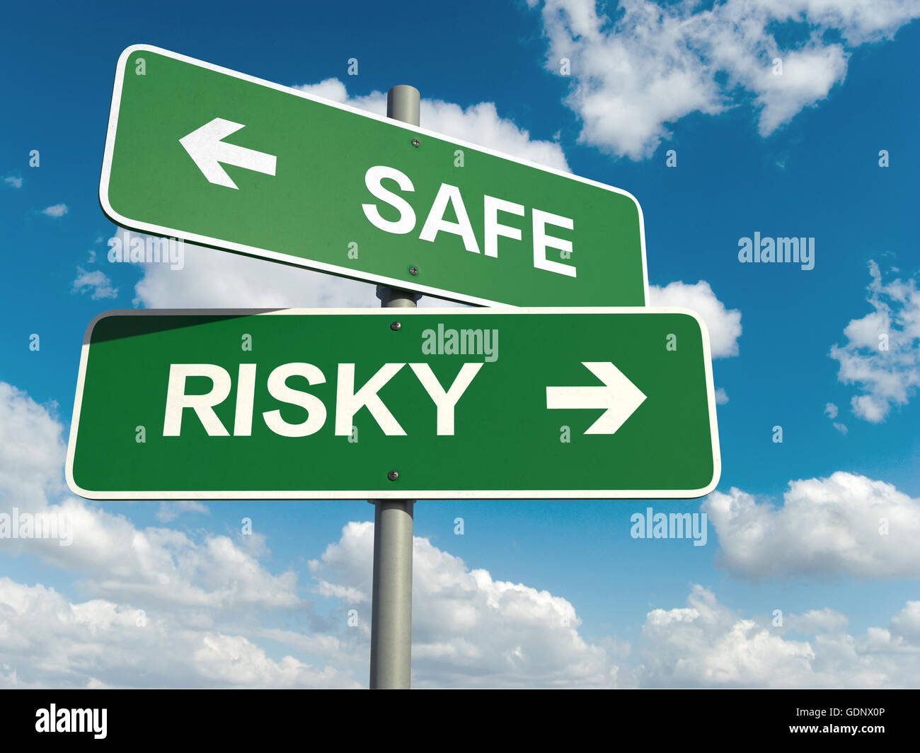 A road sign with safe risky words on sky background - Stock Image
