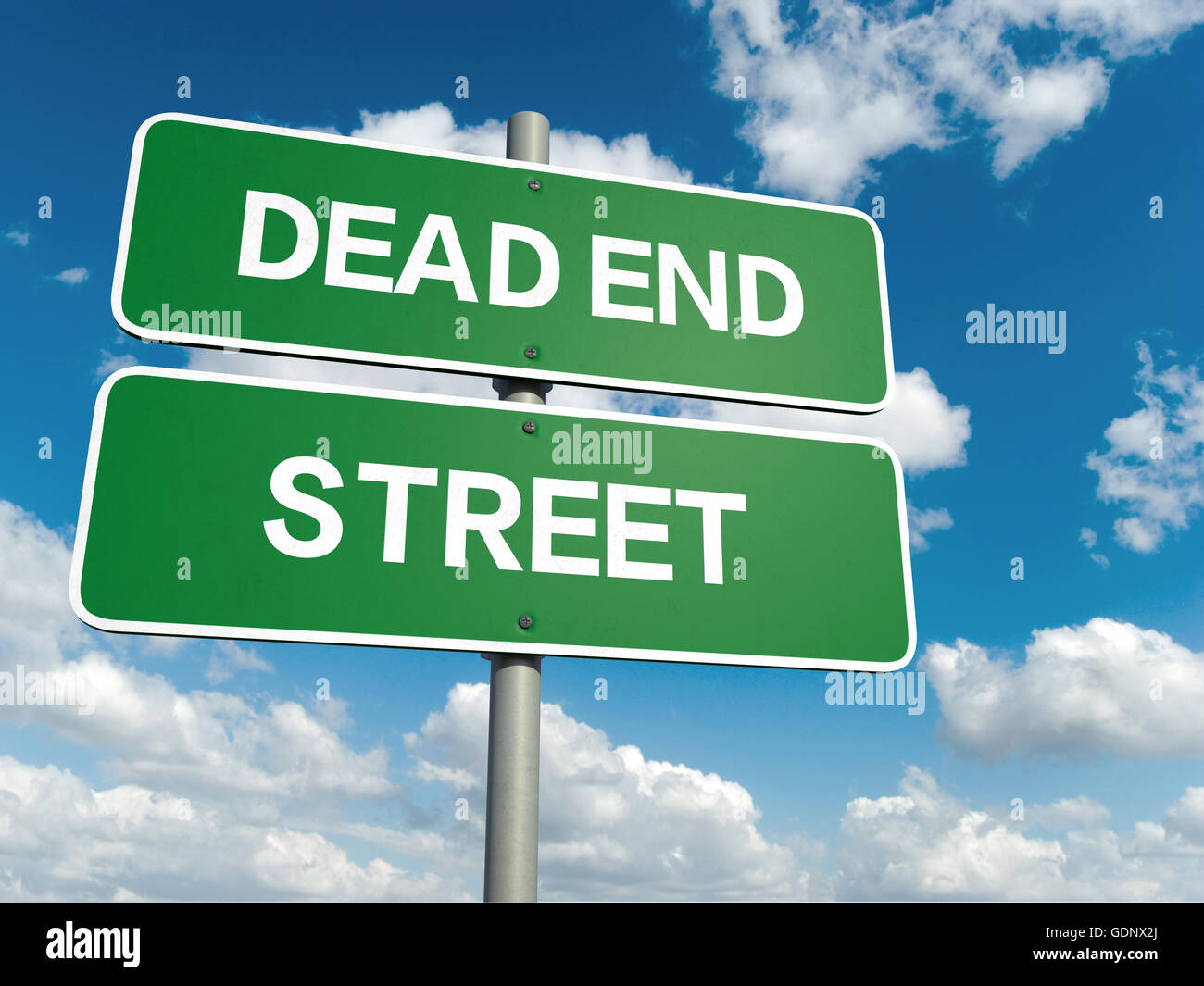 A road sign with dead end street words on sky background - Stock Image