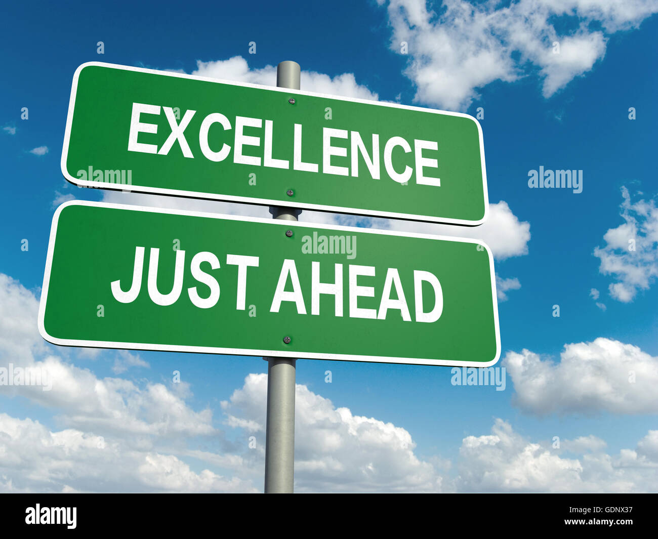 A road sign with excellence words on sky background - Stock Image