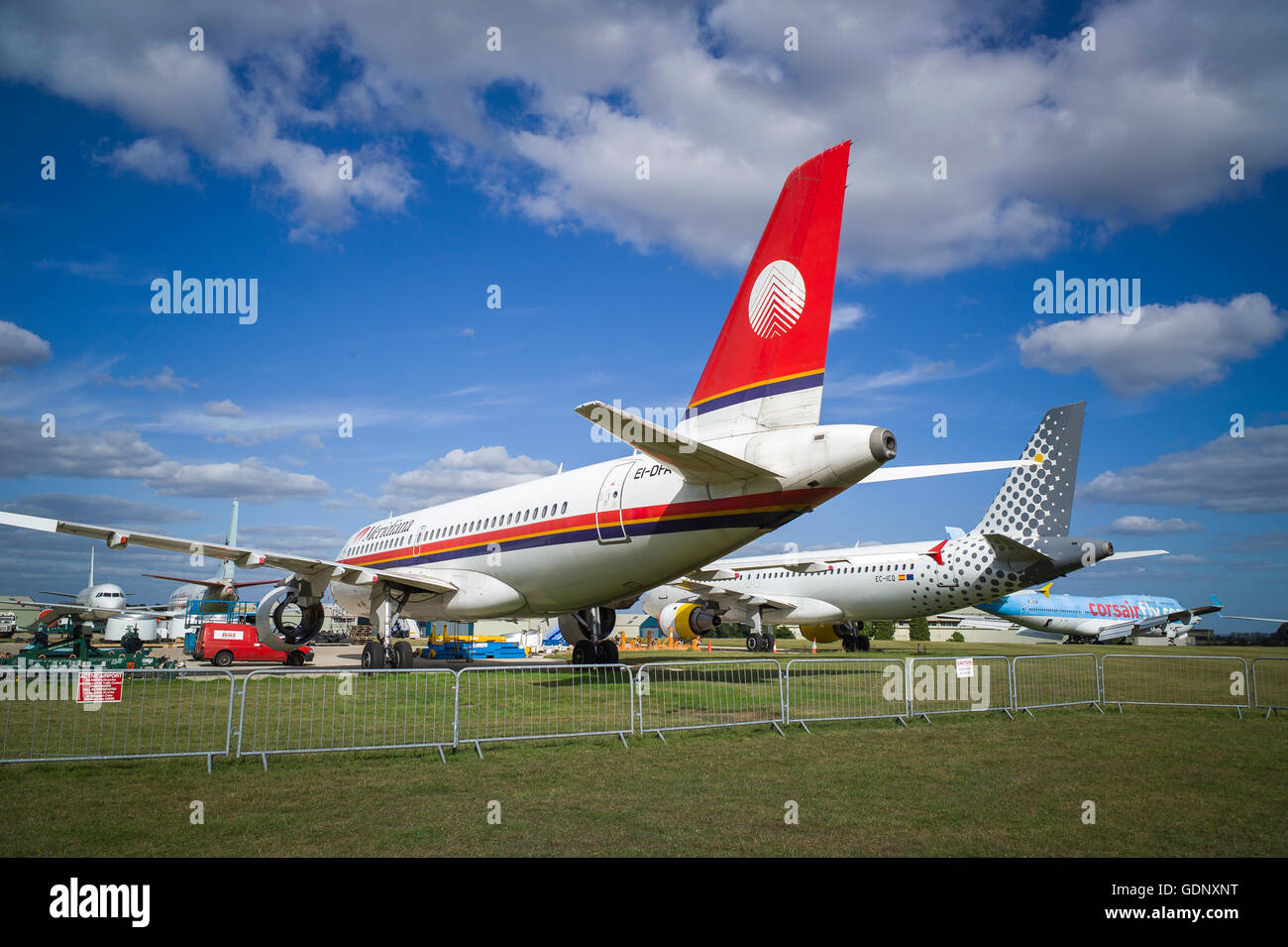 Old civil aircraft undergoing or awaiting to be dismantled at Kemble UK - Stock Image