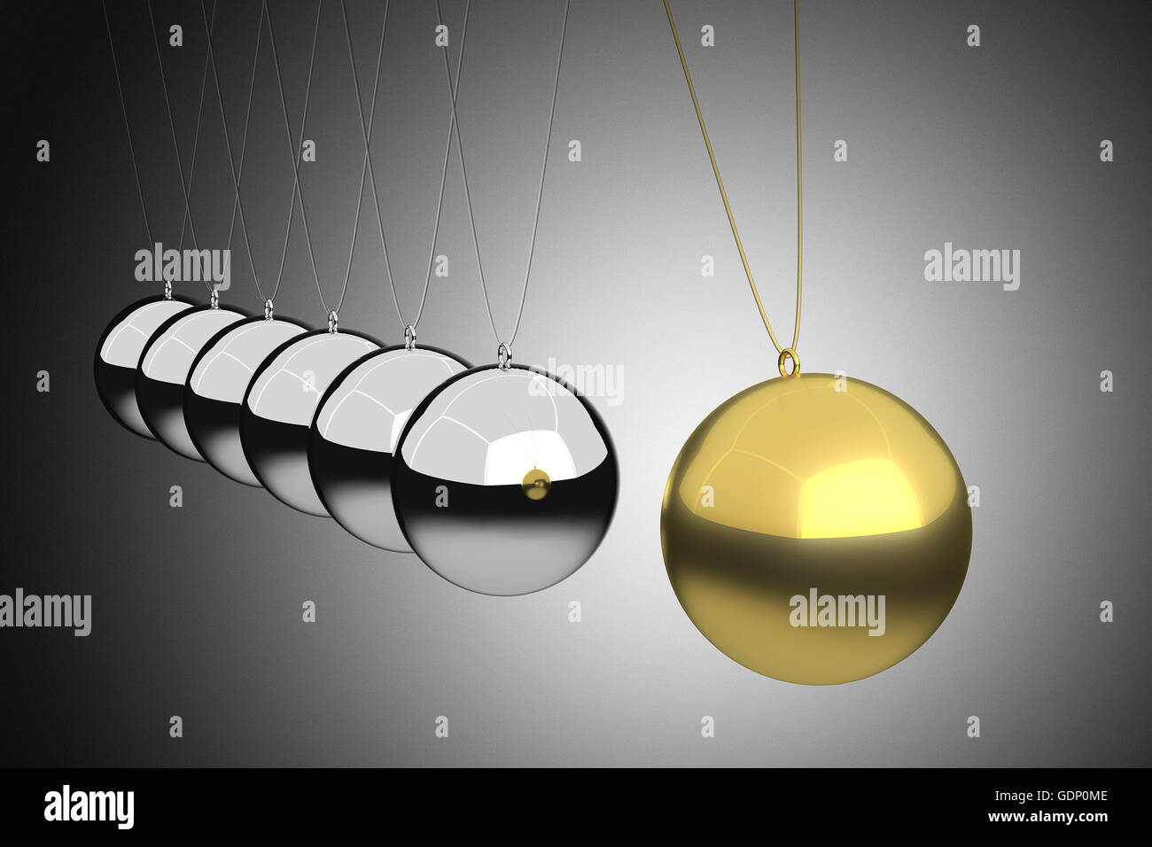 3D rendering of leadership concept illustrated by Newton cradle. - Stock Image