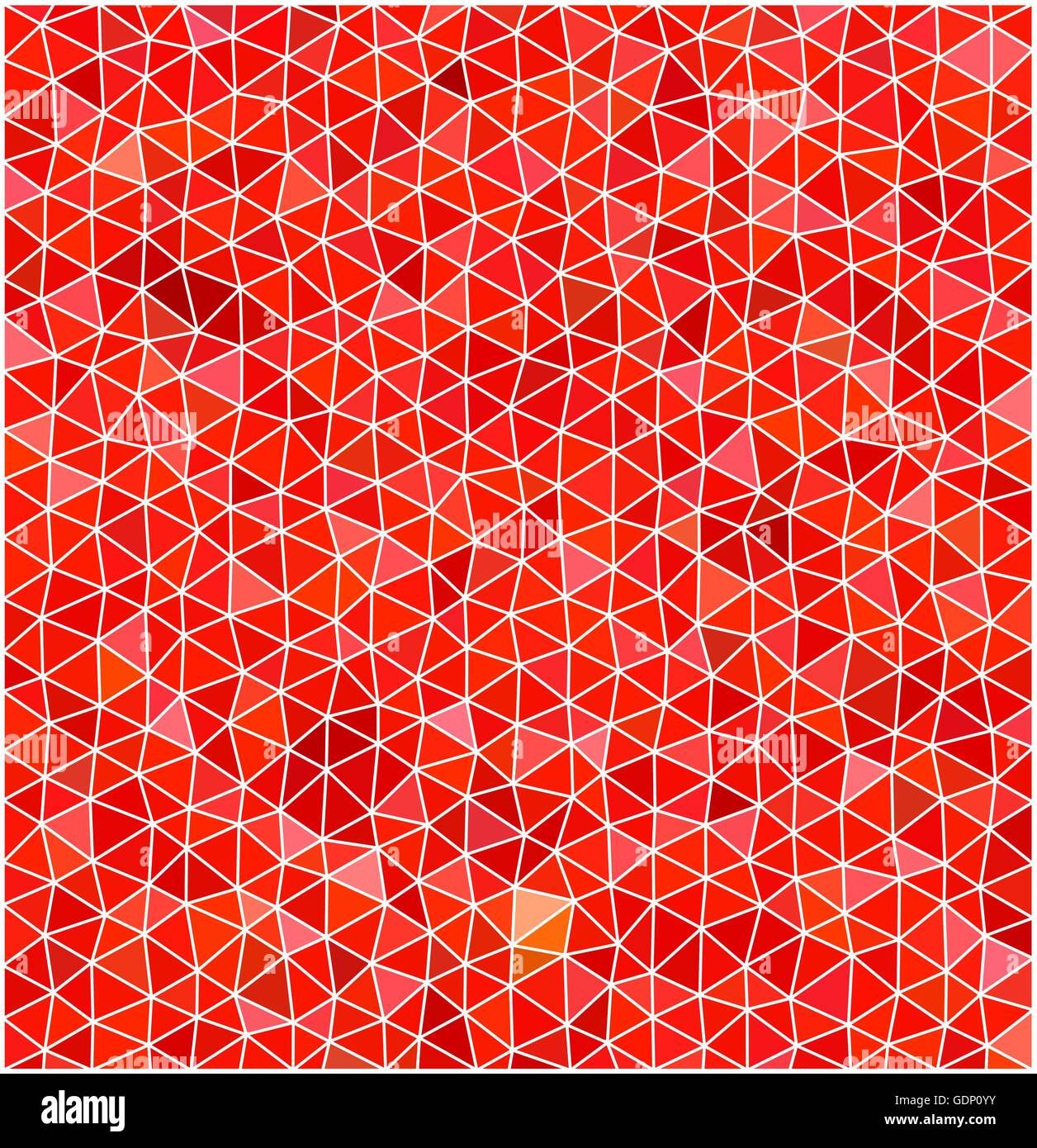 Red Stained Glass : Abstract red triangles stained glass texture with white