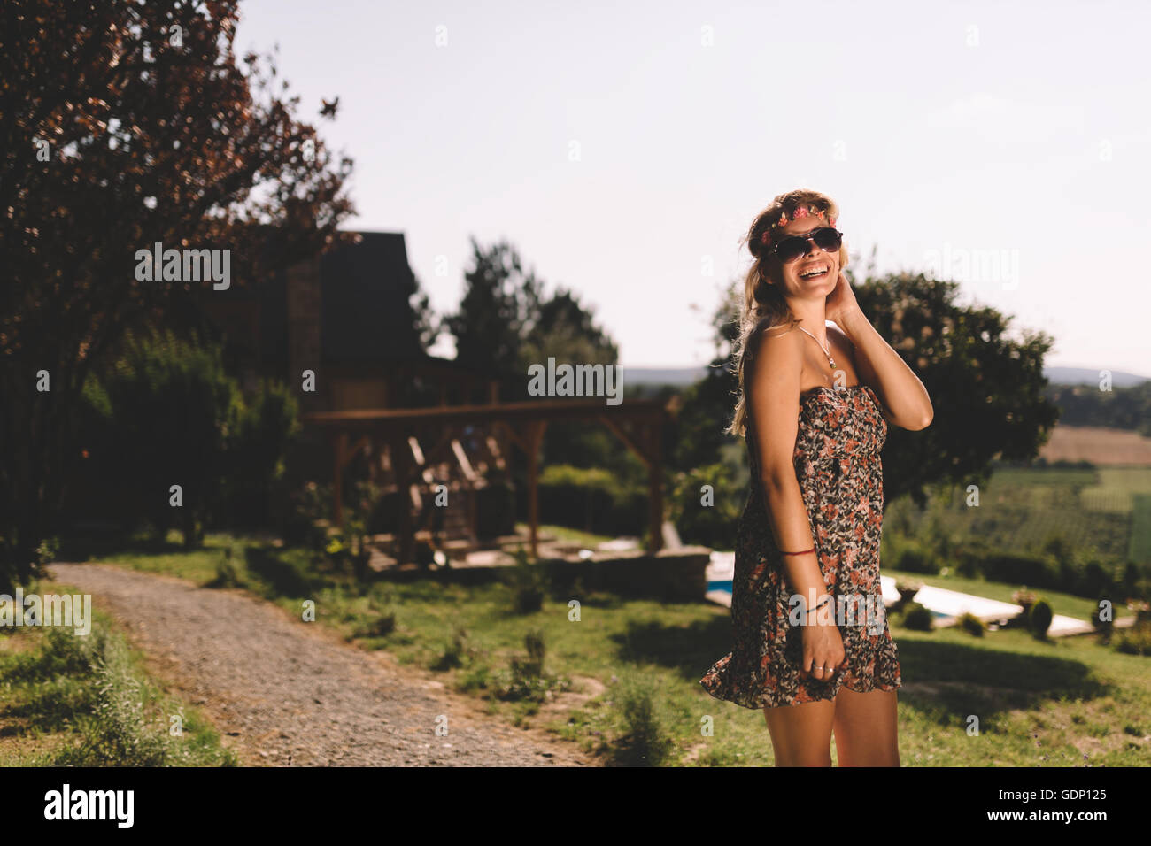 Beautiful hippie girl on vacation traveling - Stock Image