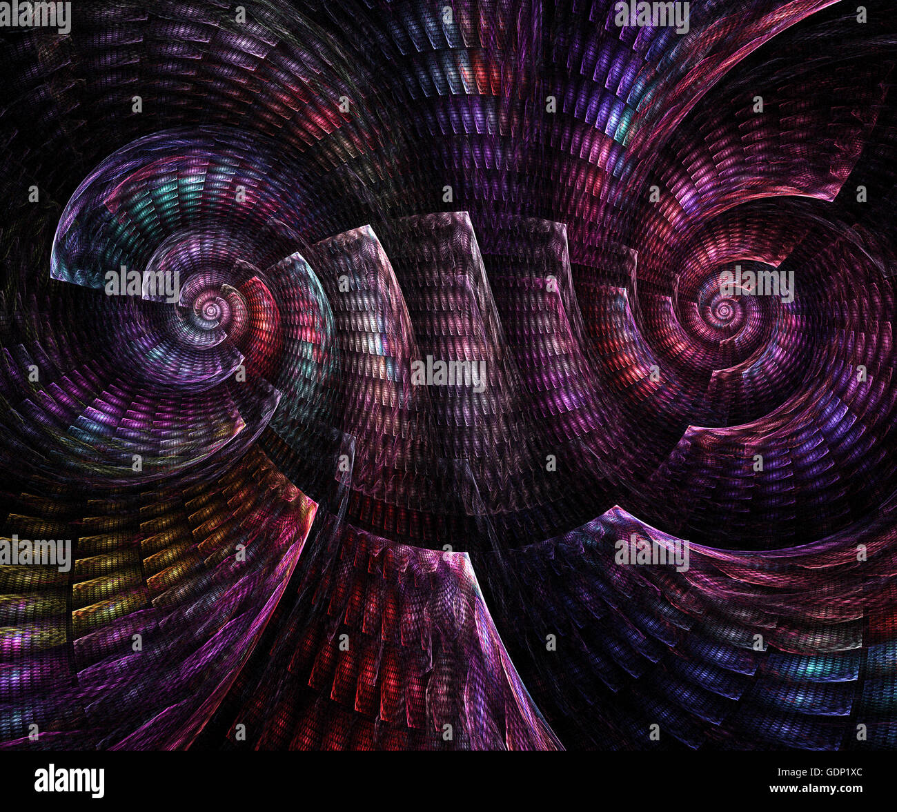 Abstract fractal fantasy magenta  spiral pattern of shell. Fractal artwork for creative design,flyer cover, interior, - Stock Image