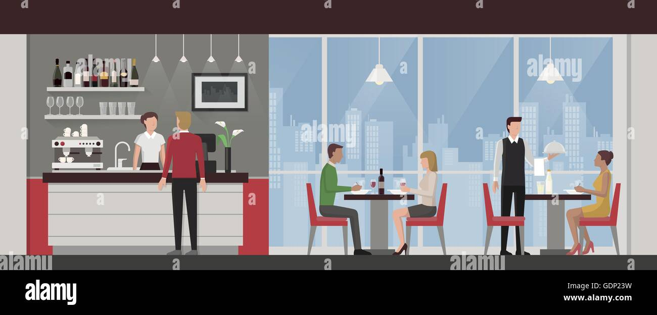 People Having Lunch In A Luxury Exclusive Rooftop Restaurant City Stock Vector Image Art Alamy