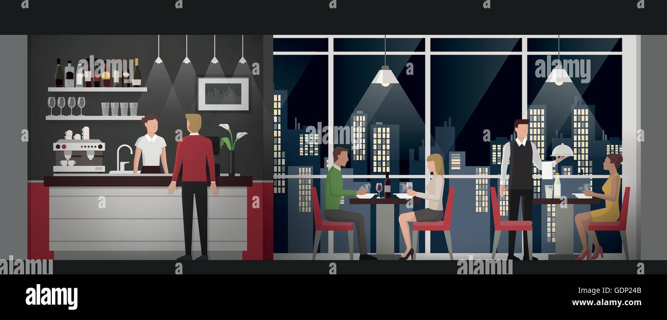 People Having An Exclusive Dinner At The Rooftop Restaurant At Night Stock Vector Image Art Alamy